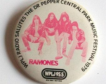 RAMONES Vintage Button Badge Pinback 1979 WPLJ Dr. Pepper Central Park Concert Rare NYC Punk CbGbB New Wave Leather Jacket