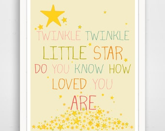 Twinkle Twinkle Little Star Do You Know How Loved You Are, Nursery Decor, Baby Wall Art, Pink Wall Art