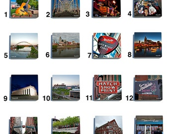 Nashville Stone Drink Coaster Set in Color - Pick Any 4. Original photography.