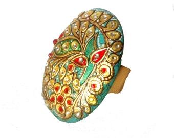 Turquoise Kundan Ring,Handpainted Ring,Exclusive handmade Jewelry,Mughal Jewellery,Roya Ring,Peacock Jewelry by Taneesi