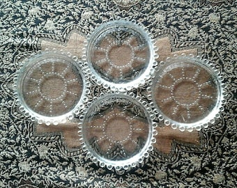 Vintage Imperial Glass Co Candlewick Art Deco Clear Glass Beaded Edge 4 inch Drink Coasters