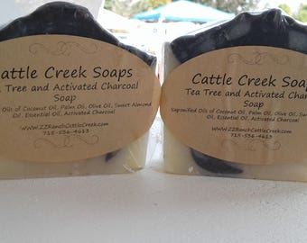 Tea Tree Essential Oil and Activated Charcoal Handmade Soap/ Artisan Soap/ Handcrafted