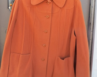 1960 / 1970S  VINTAGE tangerine  womens  button front   wool  cape / cloak