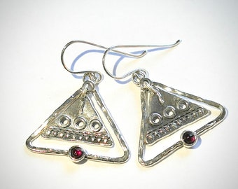Sterling silver earrings with garnet