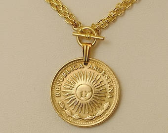 Argentina Coin Necklace Sun of May 1976