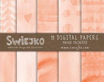 Watercolor Digital Paper, Peach, Orange Watercolor Background, Watercolor cards