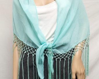 Semi sheer shawl,wrap,shawl,Fringed Shawl, Beaded shawl,wrap, Silver Beads