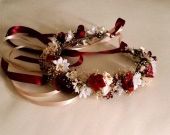 Marsala flower crown dried Floral hair wreath winter Rustic chic destination wedding Bridal party accessorie wine burgundy halo garland