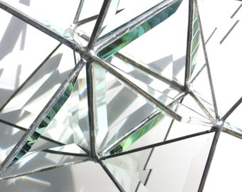 Super Nova - Large 3D Stained Glass Moravian Star - Geometric Home Decoration Clear Prisms Hanging Suncatcher Christmas Holiday