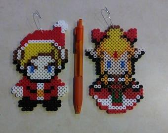 Link and Zelda Christmas ornaments