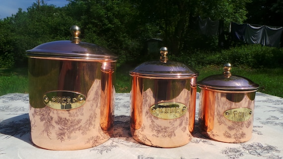 Three Vintage Copper Canister Containers with Snug Lids Good Clean Interiors, for Coffee, Sugar, Tea Caddy, Fully Marked Excellent Condition