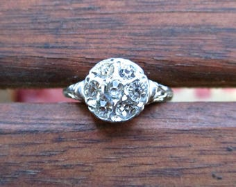 Vintage 1940s Rhinestone Cluster Ring - Size 9 - Cocktail Ring - Silver Tone