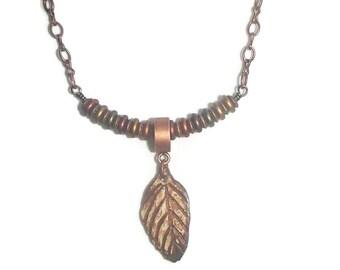 Ceramic Leaf Copper Chain Necklace Czech Glass Jewel Tone Focal Leaf Pendant Ceramic Pendant Necklace N123