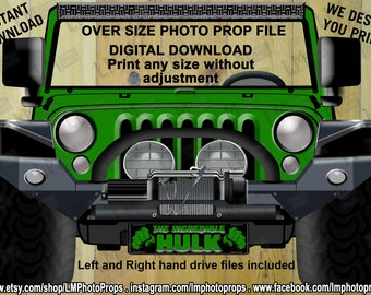 Muscle Jeep Inspired Hulk Car, The Incredible Hulk, Green, Instant Download, DIY, Fantastic Four, Superhero, Avengers, Hulk Theme Party,