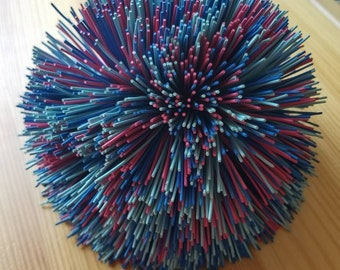 Vintage Multicolored Koosh Ball 1980s 1990s Reds and Blues