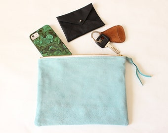 Repurposed Suede 8 Inch Everyday Zipper Pouch / Robin's Egg Blue