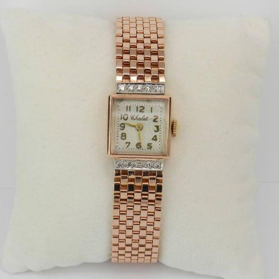 Antique Vintage Retro 14K Rose Gold Diamond CHALET Ladies Bracelet Watch