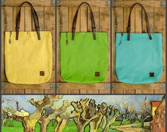 Tote Bag Handbag - Bag leather and canvas - Summer - grass, sky, sun