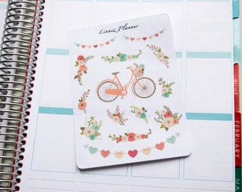 Bicycle and Flowers Peach Mint (matte planner stickers, fits perfect in Erin Condren Life Planner)