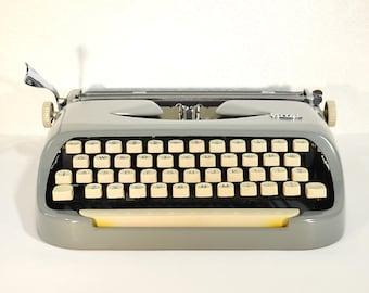 Refurbished Typewriter- Working Royalite Ultraslim Portable Typewriter in Case with New Ribbon, Fully Serviced Gray Typewriter