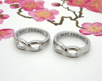 "Same Day Shipping Infinity Ring ""BEST FRIENDS"" infinity ring sisters infinity sister ring best friends infinity ring best friendship"