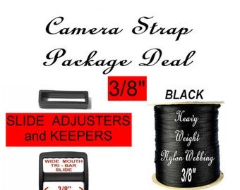 Camera Strap Package Deal - Strap Adjuster, 3/8 inch, 4 Slides  and 4 Keepers SET AND 1 Yard, Heavy Nylon Webbing