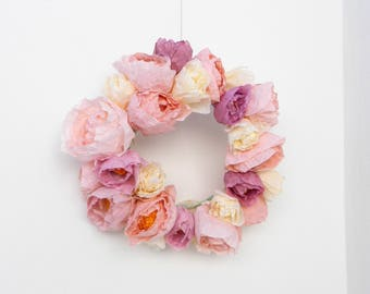 pink paper flower wreath
