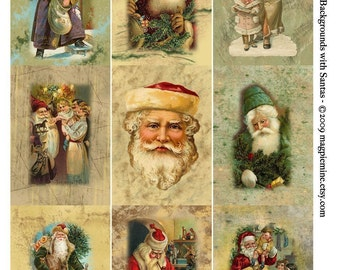 Christmas Santas - ACEO Size Digital Download Collage Sheet - Instant Download - Nine 2.5 x 3.5 Altered Art Victorian Images - Printable