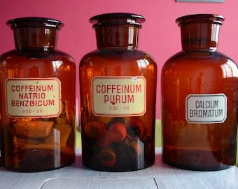 Vintage pharmacy amber glass JARS - EXTRA LARGE V2