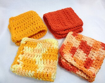 Cotton Dishcloths, Kitchen Washcloths in Yellow and Orange, Sunshine Theme Kitchen, Gift for Mom, Present for Teacher, Set of Two or Four