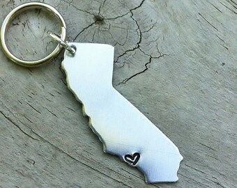 Custom Long Distance Love USA Keychain - CHOOSE Your STATE - California Keychain_#STATEh