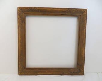 Vintage Hand Carved Frame 17 x 17 Bare Wood