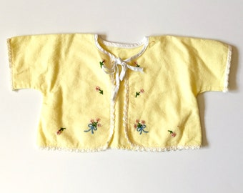 Baby Sacque - Yellow Flannel Infant Cover Up with Embroidered Flowers