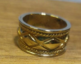 Wide Silver Band Ring~ Size 7.5, 11 mm wide