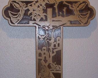 Easter Bible Story Cross - Maple & Walnut