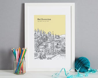 Personalised Melbourne Print | Unique Engagement Gift | Custom Wedding Gift | Travel Gift | Unique Wall Art | City Picture | Australia Print