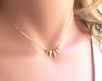 Delicate Arrowhead Necklace, Tiny Spike, Tiny Dagger, Chevron Matte Gold Plated Necklace, Arrowhead Jewelry, Chevron Jewelry, Spike Jewelry