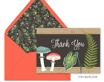 Thank You Cards, Wildwood Thank You Cards, Botanical Thank You Cards, Nature Thank You Cards, Outdoor Thank You Cards—Deposit