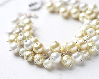Pastel Yellow and White Wedding Bridesmaid Jewelry, Pearl Cluster Bracelet - Lemonade