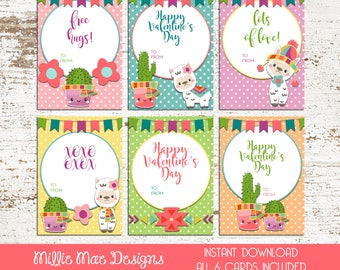 INSTANT DOWNLOAD - Tribal Alpaca and Cactus Valentine's Day Cards