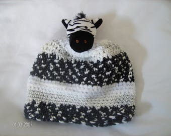 Crochet Baby Winter Zebra Hat sized to fit 6 to 12 months