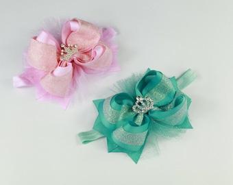 Pink Bow Headband, Turquoise Headband, Baby Girl Headband, Newborn Headband, Baby Shower Gift, Headbands for Baby, Infant Toddler Headband