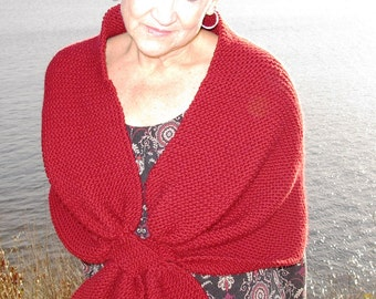 Bow Tie Shawl, a simple knitted rectangle gathered into ties, one end slipping through the other for easy wearing. PDF knitting pattern