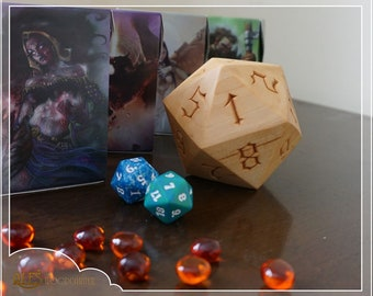 Hand carved 20 sided die, Magic the Gathering style numbering, Dungeons and Dragons decorative die