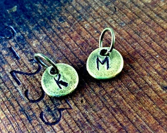 Brass Letter Charms, Tiny Alphabet charms, Initial Jewelry, Add A Letter Charms, Children's Initials, Initial Charm Pendant