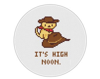 "Overwatch/Neko Atsume Billy the Kitten - ""It's High Noon"" - Cross Stitch Digital Pattern"