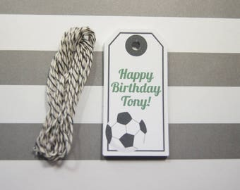 Birthday Tags Soccer Tags Gift Tags Wish Tree Tags Favor Tags Set of 12 Tags  Personalized
