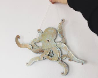 Octopus hand-cut and Painted Articulated Decoration