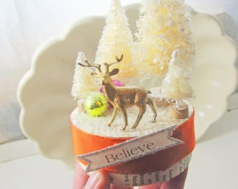 Handmade Whimsical Christmas Decoration Tableau
