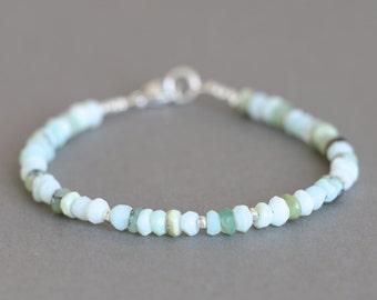 Opal Bracelet Gemstone Bracelet Peruvian Opal Bracelet October Birthstone Hill Tribe Silver Beads Stacking Bracelet